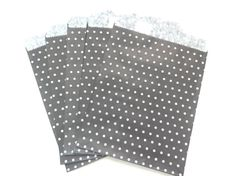 25 polka dots flat black paper bags by eastmeetswest on Etsy (Craft Supplies & Tools, Scrapbooking Supplies, Scrapbooking Paper, party bag, paper bag, craft paper bag, brown craft bag, package, gift wrap, brown paper bag, polka dots paper bag, polka dots, polka dots bag, cute paper bag, black paper bag, black polka dots bag)