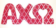 These connected MDF letters are for Alpha Chi Omega. Letters measure 8-10 tall.    To customize:  Specify letters, colors, pattern and scale