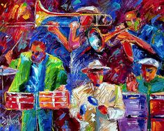 """Daily Painters Abstract Gallery: Original Jazz Art Music Abstract Painting """"Latin Jazz"""" by Debra Hurd"""