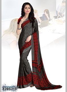 38e2eb3eecc71d Decent Black Coloured Italian Crepe Printed Saree Crepe Saree, Silk Sarees,  Saree Sale,