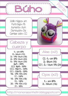 Best 12 Buho amigurumi patron by hester Owl Crochet Patterns, Crochet Owls, Love Crochet, Amigurumi Patterns, Amigurumi Doll, Crochet Animals, Knit Crochet, Crochet Keychain, Amigurumi Tutorial