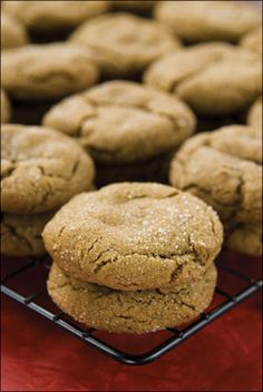 Molasses Cookies (Soft Ginger Snaps) ~ 1 cup sugar  1/4 cup molasses  1 beaten egg  3/4 cup oil    Mix well, then add:    1 1/2 cup flour  2 tsp baking soda  1/2 tsp salt  1/2 tsp ginger  1/2 tsp cloves  1 tsp cinnamon    Roll into balls, then roll in sugar.  Place on ungreased cookie sheet.  Bake for about 7 minutes at 350 degrees.
