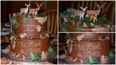 """The Hunt is Over - 8"""" & 10"""" butter cake w/chocolate ganache filling, iced in chocolate buttercream. Hand made fondant acorns, branches, & leaves. TFL!"""