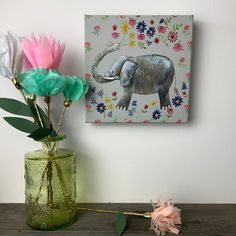 """""""Elephant Canvas (Small) - Alex Clark From an original watercolour artwork, I've printed onto a small canvas with added subtle glittery details. Perfect to display in any room you like. Size: 7.5\"""" x 7.5\"""" (20cm x20cm) Please view my store for more canvases in different sizes."""" Watercolor Artwork, Watercolour, Ewe Sheep, 4 Best Friends, Clark Art, Elephant Canvas, Small Canvas, Guinea Pigs, Canvases"""