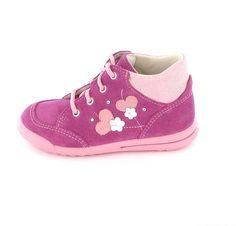 Superfit Lauflernschuh Kinder 372-74 Verloursleder in Dahlia Kombi Pink mit Blüten