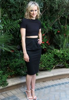 Orange Is The New Black actress Taylor Schilling works her ASOS pencil skirt and crop top