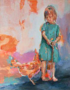 """Saatchi Art Artist Fernanda Cataldo; Painting, """"Girl with hen and guitar II"""" #art"""