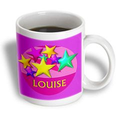 3dRose - SmudgeArt Female Child Name Designs - Vibrant colored stars on a pink background with the name Louise - 11 oz mug