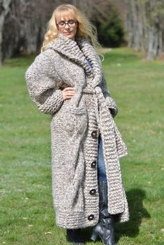 Items similar to ORDER handmade wool cardigan hand knitted wool coat shawl collar wool coat long chunky cardigan with pockets and belt Dukyana on Etsy Mohair Sweater, Sweater Coats, Wool Cardigan, Thick Sweaters, Women's Sweaters, Gros Pull Mohair, Chunky Cardigan, Wool Coat, Submissive