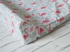Baby Crib Sheet * Contoured Changing Pad Cover * Mini Crib Sheet * Flamingos on White & Green * Made To Order by LiliowaPracownia on Etsy https://www.etsy.com/listing/239538241/baby-crib-sheet-contoured-changing-pad