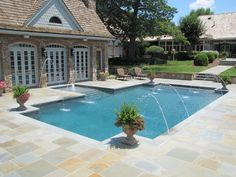 Rectangle pool with tanning deck - pebble sheen blue granite bluestone - Google Search