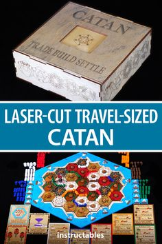This laser cut travel size Catan board game has the original / basic game and also the 5 - 7 player expansion.