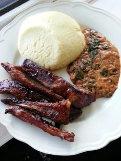 Sadza, ribs & peanut butter spinach