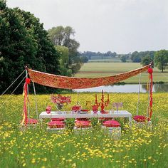 Picnic in a field of flowers, near a lake, and with a shade made from a colorful sheet...I like it.