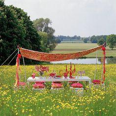 bohemian fest in a field of flowers