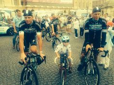 @opqscyclingteam #OPQS rider in training! @nikiterpstra's son Luca between Niki and @AlePetacchi.#TDF