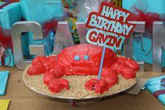 crab birthday party cake Crab Birthday Cakes, First Birthday Cakes, Boy Birthday Parties, 5th Birthday, Birthday Ideas, Country Boil, Low Country, Crab Party, Cupcake Cakes
