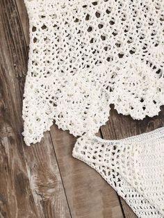 White Hollow Out Scalloped Hem Crochet Bikini Set – Lyfie