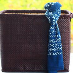 Indigo Ethnic Collage Stole - Classic cotton stole with an deep indigo backdrop and light coloured strokes in different Indian pattern prints.
