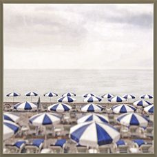 Captured in the vacation mode, a sea of striped blue and white umbrellas staked in the sand takes center stage in this large 46 x 42 Seaside Escape framed coastal canvas. Coastal Wall Decor, Coastal Art, Frames On Wall, Framed Wall Art, Framed Prints, Seaside Beach, Beach Art, White Umbrella, Hand Painted Canvas