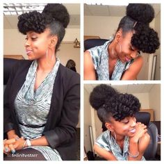 Super cute natural hair style! Bantu knot bangs and high bun!