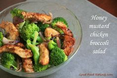 honey-mustrad-chicken-broccoli-salad I would double the dressing if you are going to put this over rice. We put it over quinoa and it could have used more liquid. But super yummy! Lunch Recipes, Healthy Dinner Recipes, Whole Food Recipes, Broccoli Salad, Chicken Broccoli, Chicken And Shrimp Recipes, Pasta Recipes, Fresh Chicken, Smoothie