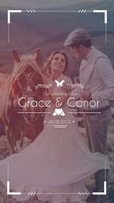 Reach your #customers, #friends and #family with simple, professional #content for #weddings to attract traffic to your #business. This video is a #creative, fun way of celebrating your #wedding day. Custom, animated wedding titles with an intimate married couple captured with a #horse. This simple video animation can be created in various formats and shared to all social media platforms such as #Facebook, #Instagram, #Twitter and #LinkedIn, and also shared to Instagram and Facebook Stories. Wedding Titles, Wedding Film, Wedding Makeup, Pre Wedding Videos, Wedding Highlights Video, Social Media Page Design, Wedding Photography And Videography, Instagram Story Ideas, Our Wedding Day