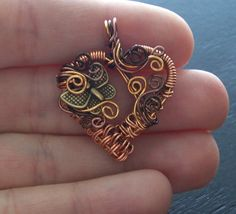 Hand Woven Copper Wire Heart and Butterfly by MontourDesigns