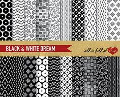 Digital Paper Pack BLACK & WHITE DREAM Patterned by AllFullOfLove, $4.95