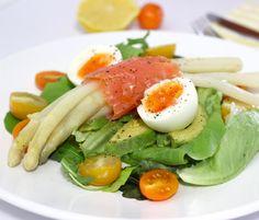 Asparagus salad with salmon avocado and egg