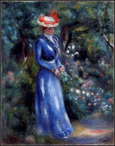 Femmes à chapeau (148) Auguste Renoir (1841-1919)  femme en bleu dans le jardin de saint-cloud-1899 Au bord de la mer Portrait Femme au chapeau bleu                                                                                                                                                                                 Plus