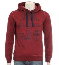 PME Legend sweater met capuchon voorzien van tunnelkoord. Deze hoodie is voorzien van een letterprint aan de voorzijd - Rood - NummerZestien.eu