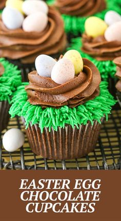 """These Easter Egg Chocolate Cupcakes are moist chocolate cupcakes topped with chocolate frosting """"nests"""" and pastel colored Easter eggs! They're cute Easter cupcakes that are also easy to decorate! Easy Chocolate Cupcake Recipe, Best Chocolate Desserts, Easy Cupcake Recipes, Decadent Chocolate, Chocolate Frosting, Chocolate Cupcakes, Dessert Recipes, Easy Easter Desserts, Easter Recipes"""