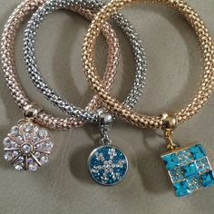 NEW Snap button bracelets Snap button bracelets. Three colors to choose from. Rose gold, silver or gold. Bracelet is stretchy so it fits easily. New, never worn. No trades. Offers considered through the offer button only. Bracelets are $11 EACH. Snap It Up Jewelry Bracelets