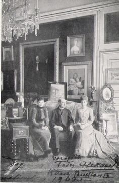 King Christian IX of Denmark with his two eldest daughters; the Dowager Empress Marie Feodorovna of Russia and Queen Alexandra of the United Kingdom. 1905.