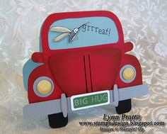 Stamp-n-Design: VW Bug - Bad Day Card Inside: Some days you're the windshield, some days you're the bug. Hope tomorrow is better! Punch Art Cards, Shaped Cards, Card Tutorials, Masculine Cards, Creative Cards, Kids Cards, Cute Cards, Card Templates, Scrapbook Cards