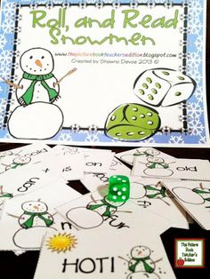 Classroom Freebies: Roll and Read Snowmen - A Sight Word Game