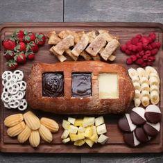 Chocolate Fondue Bread Boat Recipe by Tasty - Baking Recipes Fondue Recipes, Cake Recipes, Dessert Recipes, Cooking Recipes, Egg Recipes, Lunch Recipes, Healthy Recipes, Cooking Tv, Fondue Ideas