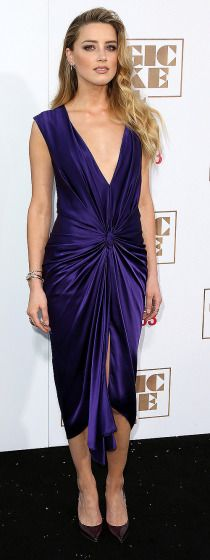 "Amber Heard is pretty in purple at the ""Magic Mike XXL"" premiere."