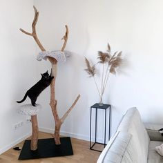 Pet owners know that love has no bounds, especially when it comes to creating spaces to play. While dogs may get to claim the yard, cats reign over the interior: couches, shelves, counters, and cabinets are their domain. So why not give them something fresh to conquer? A DIY cat tree will provide your pet with a space that's all their own, perfect for exercising or relaxing away from the rest of the family. Diy Cat Tree, Cat Trees, Cat Castle, Cat Gym, Plant Shelves, Beige Carpet, Buy A Cat, Happy Animals, In The Tree
