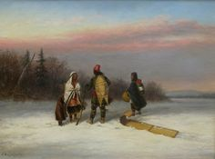 'Wayside Chat' by Cornelius Krieghoff Oil on canvas, 1855 at Mayberry Fine Art: Canadian Painters, Canadian Artists, Cacciatore, Historical Art, Cornelius, Red River, Mountain Man, Winter Landscape, Montreal