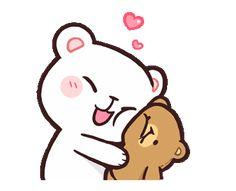 Resultado de imagen para Milk & Mocha STICKERS Cute Cartoon Images, Cute Couple Cartoon, Cute Love Cartoons, Cartoon Pics, Cute Cartoon Wallpapers, Cartoon Kiss Gif, Cute Hug, Cute Love Gif, Cute Bear Drawings