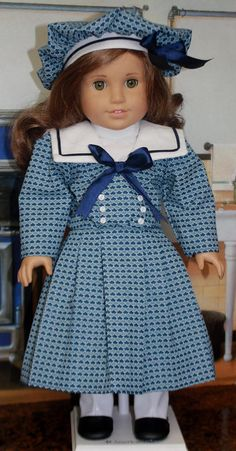 American Girl Style 1904 Sailor Dress in Blues