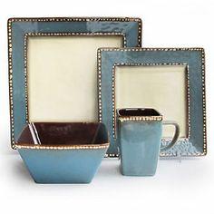 square dinnerware sets | ... Atelier Barcelona Azul Blue 16 Piece Square Dinnerware Set New | eBay