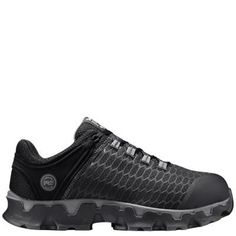 Men's Timberland PRO Powertrain Sport Slip-On Alloy Toe SD+ Work Shoes Black Ripstop Nylon