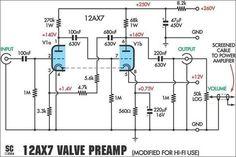 12AX7 Preamplifier Schematic: