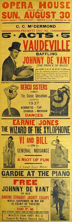 Vaudeville poster Spanish Dance, Magic Illusions, A Funny Thing Happened, Advertising Poster, Burlesque, Art Forms, Cover Design, Opera House, Hocus Pocus