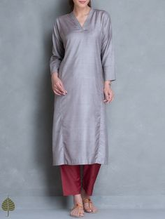 Buy Grey Silk Cotton Kurta by Jaypore Women Kurtas Online at Jaypore.com