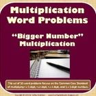 This set of 20 word problems focuses on larger number multiplication word problems (1 digit by 2, 3, and 4 digit and 2 digit by 2 digit) which support the CCSS. Pages can be printed, cut into quadrants, and laminated to use as task cards (color version) or can be copied and cut apart to use in math journals or as worksheets. Pages are included in color AND with white background. Also includes a work mat for answers, answer key, and blank cards for teachers/students to write more problems…
