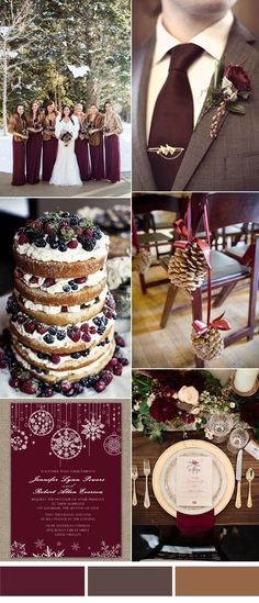 burgandy cozy winter wedding color ideas